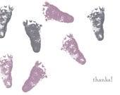 Custom listing for Katilin - letterpressed baby feet thank you cards
