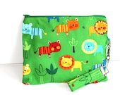 SALE Bright Green Animal Print Wristlet, Essentials bag, Cosmetic Bag, Day Clutch, Travel Bag FREE SHIPPING