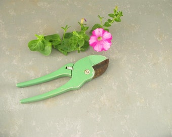Vintage Garden clippers, shears, pruner, green, metal