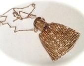 Gold Mesh Beggar's Bag with Accordion Gate Top – Art Deco Mini Bag