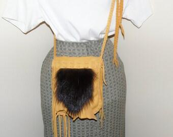 Skunk fur and leather medicine possibles bag cross body shoulder bag