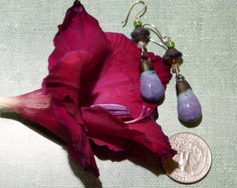 Lovely ceramic drop lilac violet earrings
