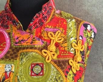 Vintage Cheongsam, BRIGHT Novelty Print Wiggle Dress, Hot Pink, Orange, Asian Print, Women's Medium to Large