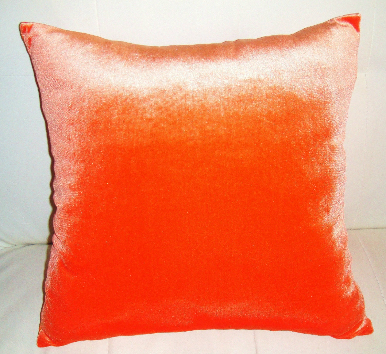 Orange Velvet Pillow 18x18 New Decorative Soft Throw Pillow