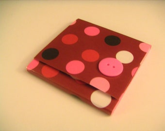 Red and Dark Pink Polka Dot Sticky Notes Pad with Hot Pink Button