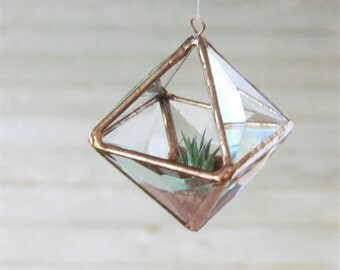 Mini Geometric Air Plant Holder Stained Glass Hanging Terrarium Clear and Copper Colored Beveled Glass Triangles Pyramid Planter Glass Vase