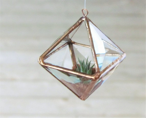 Mini geometric air plant holder stained glass hanging for Geometric air plant holder