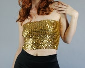 Vintage 70s Women's Gold Sequined Bandeau Strapless Disco Club Stretch Knit Top