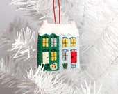 Little House Ornament, Rowhouses Christmas Ornament, Felt house ornament, Holiday Decoration, Row house, Hand-stitched, ready to ship,