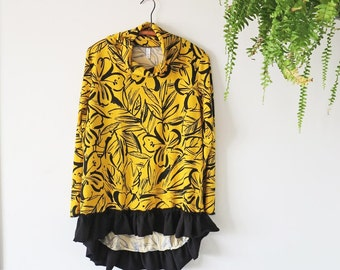 womens sweatshirt size small cowl neck yellow with black flower print ruffle bottom lovely only 1