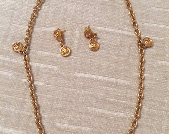 Sweet Sixteen Vintage COURREGES Gold Tone Necklace and Pierced Earrings Set