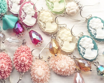 10 Pair Earrings Cameo Vintage Style / Mix of Dangly Wholesale Handmade Cameos / Bridesmaids Wedding Favors Gifts / Tea Party Resale Shop