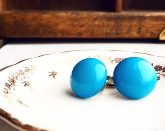 Vintage Bright Blue Clip On Earrings / SO Cute and Retro
