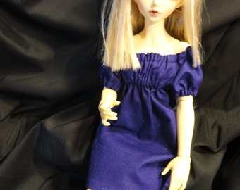 MSD BJD  Chemise Dress and Bloomers Dark Purple