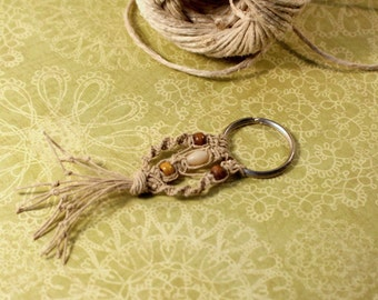 Macrame Key Chain Key Ring With Wooden and Plastic Beads