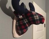 Custom-Made, Wall-Mounted Stuffed Moose Head, Faux Taxidermy
