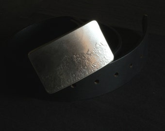 """Silver Hand Forged Canadian Landscape Artisan Signed Original Belt Buckle Stainless Steel Hypoallergenic Fits 1.5"""" Full Grain Belt for Jeans"""