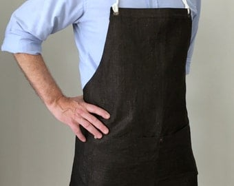 Full Apron Man Italian Denim Dark Brown Work Apron Cacao Color Rustic Apron