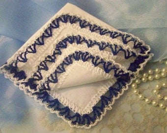 Royal Blue Handkerchief, Hanky, Hankie, Hand Crochet, Embroidered, Personalized, Monogrammed, Bridesmaids, Lace, Lacy, Ready to ship, Ladies
