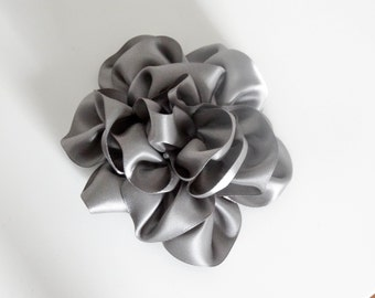 Pretty Gray Satin Ribbons Flower Hair Comb Handmade