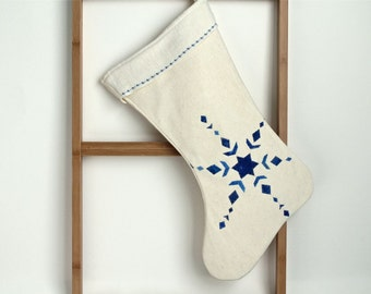 Christmas Stocking abstract blue snowflake hand painted quilted  eco friendly cream hemp  OOAK 29