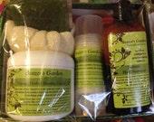 Basic Grooming Skincare Giftset - Natural Shaving Cream - Deodorant  - Shampoo & Conditioner - Herbal Soap