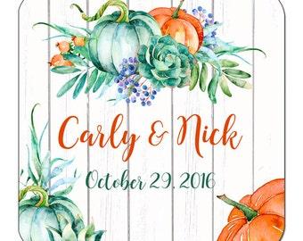 Custom Fall Wedding Labels Personalized Pumpkins and Eucalyptus Square Glossy Designer Stickers - Quantity 100