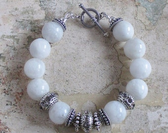 Silver and Snow -- Moonstone Sterling Bracelet