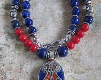 Lapis and Coral Nepalese Necklace - Nepal Pendant