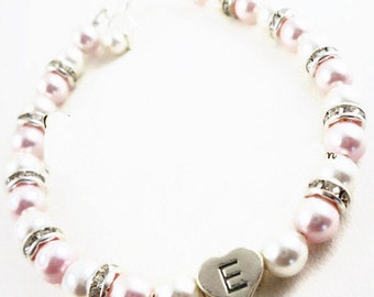 Rosaline pink & white or ivory cream flower girl bracelet - choose colors