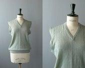 Vintage knit vest. deadstock waistcoat. 70s sage green wool vest