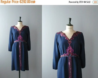 40% OFF SALE // Vintage silk dress. Mila Schon silk dress. 80s blue dress with sequins and beads