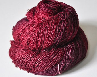 Sticky cocktail cherry - Tussah Silk Fingering Yarn
