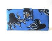 Handmade wallet for women - octopus in blue - Mystery food - Sapphire - Cotton Steel - ID clear pocket - custom order - vegan clutch purse