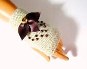 Hand Crochet Beige And Brown Fingerless Gloves, Mitten, Beige Winter Halffinger, Beige Woman Arm Warmer,  Winter Accessories, Holiday Acces