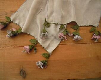 scarf with crochet flowers, grey gray long, turkish oya