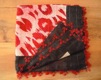 oya scarf, black red needle lace