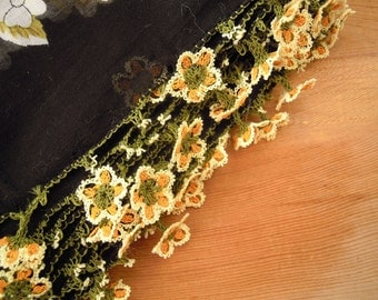black cotton turkish scarf with needle lace flower trim, orange oya