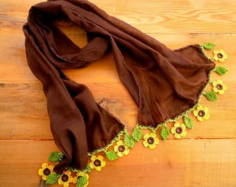 brown cotton scarf with yellow crochet flower trim, sunflower