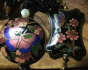 Vintage 1970's Cloisonne Butterfly Tassel Pendants - EPSTEAM - Bohemian Chic - Butterfly - Festival Wear - Hippie - Oriental Asian jewelry