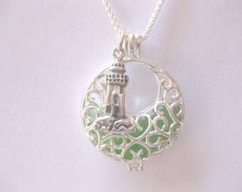 Large Sea glass jewelry beach glass jewelry sea glass pendant  I love jewelry