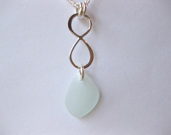 Sea glass necklace - sterling silver seaglass jewelry Seaglass infinity necklace Beach Glass Jewelry