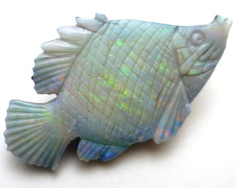 Opal Cabochon Doublet Fish Hand Carved Australian One of a Kind Rare Unique Carving Rainbow Pendant Necklace Jewelry Designer Ring