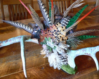 Elk Antler Art SOLD, painted a copper patina with pheasant, turkey, and guinea Feathers in hues of green, red, black and brown