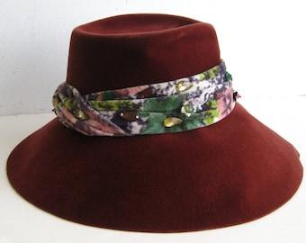 Vintage 60s Burgandy French Velour Jeweled Fedora Ladies Spy Hat