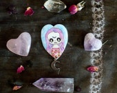 Purple and pink pastel grunge brooch, moon pin, magick, pastel goth holographic glitter