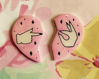 Best friend brooch set, lapel, pin, finback, emoji, mature, sassy, feminist, pink, heart, pin set