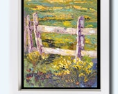 "Original Floral Landscape Oil painting, Daffodil Fenceline Impressionist Palette Knife Oil painting  ca. 7x10"" small format art"