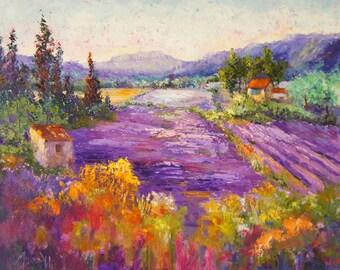 "Impressionist Provence Landscape, Wonderful Lavender Provence - Original oil knife painting, Impasto lavender fields 16X20"" FREE SHIPPING"