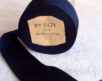 Vintage Grosgrain Tape. Navy Blue French Ribbon Roll, 5m Millinery & Home Decor / Upholstery Supplies